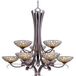 "Meridian Collection 9-Light 40"" Umber Bronze Chandelier with Dusty White Glass 21346DWUB"