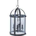 "Tara Collection 4-Light 21"" Bronze Foyer Pendant with Clear Glass 21550CLBZ"