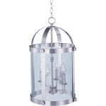 "Tara Collection 4-Light 21"" Satin Nickel Foyer Pendant with Clear Glass 21550CLSN"