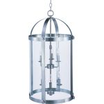 "Tara Collection 6-Light 29"" Satin Nickel Foyer Pendant with Clear Glass 21554CLSN"