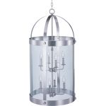 "Tara Collection 8-Light 36"" Satin Nickel Foyer Pendant with Clear Glass 21556CLSN"