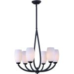 "Elan Collection 6-Light 26"" Texture Ebony Chandelier with Satin White Glass 22175SWTE"