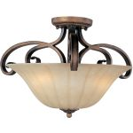 "Fremont Collection 3-Light 21"" Platinum Dusk Semi-Flush Mount with Wilshire Glass 22241WSPD"
