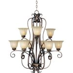 "Fremont Collection 9-Light 37"" Platinum Dusk Chandelier with Wilshire Glass 22246WSPD"