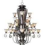 "Fremont Collection 24-Light 66"" Platinum Dusk Chandelier with Wilshire Glass 22248WSPD"