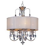 "Montgomery Collection 4-Light 27"" Polished Nickel Pendant with Clear Crystals and Blush Fabric Shade 24304CLBSPN"