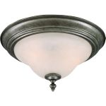 "Pacific Collection 2-Light 13"" Pewter Flush Mount with Marble Glass 2650MRPE"