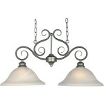 "Pacific Collection 2-Light 16"" Pewter Pendant with Marble Glass 2651MRPE"