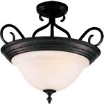 "Pacific Collection 3-Light 18"" Kentucky Bronze Semi-Flush Mount with Marble Glass 2652MRKB"