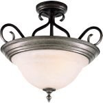 "Pacific Collection 3-Light 18"" Pewter Semi-Flush Mount with Marble Glass 2652MRPE"