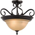 "Pacific Collection 3-Light 18"" Kentucky Bronze Semi-Flush Mount with Wilshire Glass 2652WSKB"