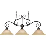 "Pacific Collection 3-Light 20"" Kentucky Bronze Pendant with Marble Glass 2653MRKB"