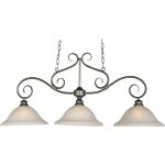"Pacific Collection 3-Light 20"" Pewter Pendant with Marble Glass 2653MRPE"