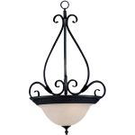 "Pacific Collection 3-Light 28"" Kentucky Bronze Pendant with Marble Glass 2654MRKB"