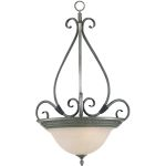 "Pacific Collection 3-Light 28"" Pewter Pendant with Marble Glass 2654MRPE"