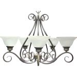 "Pacific Collection 5-Light 21"" Pewter Chandelier with Marble Glass 2655MRPE"