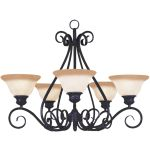 "Pacific Collection 5-Light 21"" Kentucky Bronze Chandelier with Wilshire Glass 2655WSKB"