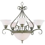 "Pacific Collection 7-Light 28"" Pewter Chandelier with Marble Glass 2656MRPE"