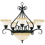 "Pacific Collection 7-Light 28"" Kentucky Bronze Chandelier with Wilshire Glass 2656WSKB"