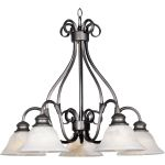 "Pacific Collection 5-Light 21"" Pewter Chandelier with Marble Glass 2657MRPE"