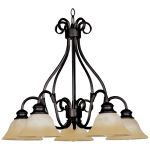 "Pacific Collection 5-Light 21"" Kentucky Bronze Chandelier with Wilshire Glass 2657WSKB"