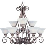 "Pacific Collection 9-Light 26"" Pewter Chandelier with Marble Glass 2658MRPE"