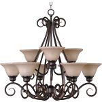 "Pacific Collection 9-Light 26"" Kentucky Bronze Chandelier with Wilshire Glass 2658WSKB"