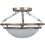 "Stratus Collection 3-Light 14"" Pewter Semi-Flush Mount with Marble Glass 2670MRPE"