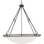 "Stratus Collection 6-Light 38"" Bronze Pendant with Marble Glass 2671MRBZ"