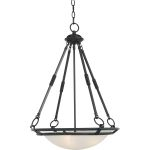 "Stratus Collection 4-Light 25"" Bronze Pendant with Marble Glass 2672MRBZ"