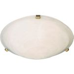 "Malibu Collection 2-Light 12"" Polished Brass Flush Mount with Marble Glass 2680MRPB"