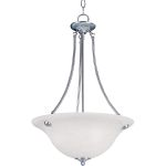 "Malibu Collection 3-Light 24"" Satin Nickel Pendant with Marble Glass 2682MRSN"