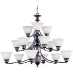 "Malibu Collection 15-Light 30"" Oil Rubbed Bronze Chandelier with Marble Glass 2683MROI"