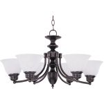 "Malibu Collection 6-Light 14"" Oil Rubbed Bronze Chandelier with Marble Glass 2684MROI"