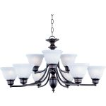 "Malibu Collection 9-Light 16"" Oil Rubbed Bronze Chandelier with Marble Glass 2685MROI"