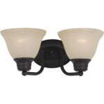"Malibu Collection 2-Light 13"" Oil Rubbed Bronze Vanity with Wilshire Glass 2687WSOI"