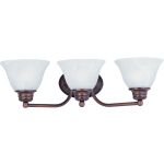 "Malibu Collection 3-Light 19"" Oil Rubbed Bronze Vanity with Marble Glass 2688MROI"