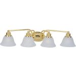 "Malibu Collection 4-Light 29"" Polished Brass Vanity with Marble Glass 2689MRPB"