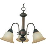 "Malibu Collection 3-Light 15"" Oil Rubbed Bronze Mini Chandelier with Wilshire Glass 2697WSOI"