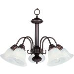 "Malibu Collection 5-Light 17"" Oil Rubbed Bronze Chandelier with Marble Glass 2698MROI"