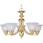"Malibu Collection 5-Light 16"" Polished Brass Chandelier with Marble Glass 2699MRPB"