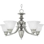 "Malibu Collection 5-Light 16"" Satin Nickel Chandelier with Marble Glass 2699MRSN"