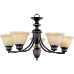 "Malibu Collection 5-Light 16"" Oil Rubbed Bronze Chandelier with Wilshire Glass 2699WSOI"