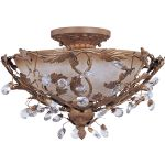 "Elegante Collection 3-Light 16"" Etruscan Gold Semi-Flush Mount with Frosted Ivory Glass 2859EG"