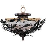 "Elegante Collection 3-Light 16"" Oil Rubbed Bronze Semi-Flush Mount with Frosted Ivory Glass 2859OI"