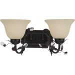 "Elegante Collection 2-Light 17"" Oil Rubbed Bronze Vanity with Frosted Ivory Glass 2864FIOI"