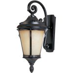 "Odessa Collection 1-Light 9"" Espresso Outdoor Wall Light with Latte Glass 3014LTES"