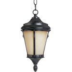 "Odessa Collection 1-Light 11"" Espresso Outdoor Hanging Light with Latte Glass 3019LTES"