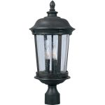 "Dover DC Collection 3-Light 21"" Bronze Outdoor Pier/Post Mount with Seedy Glass 3021CDBZ"