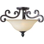 "Richmond Collection 3-Light 22"" Colonial Umber Semi-Flush Mount with Wilshire Glass 31001WSCU"